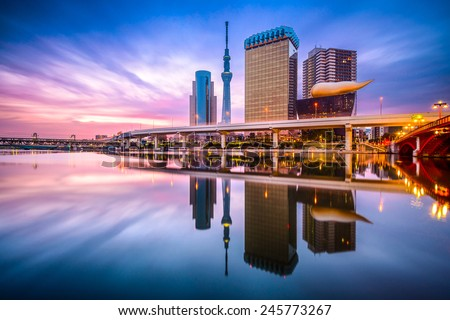 Tokyo, Japan skyline on the Sumida River at dawn. - stock photo