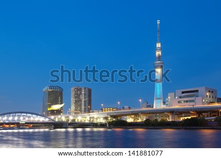 TOKYO - JUNE 05 : View of Tokyo Sky Tree (634m) at night on June 05, 2013 in Tokyo Japan, the highest free-standing structure in Japan and 2nd in the world with over 10 million visitors each year. - stock photo