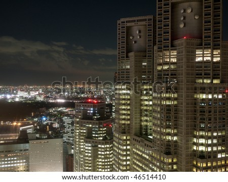 tokyo night view from building - stock photo