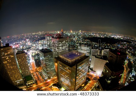 tokyo night view from building(fisheye lens) - stock photo