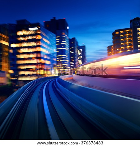 Tokyo Odaiba rail motion blurred background - stock photo