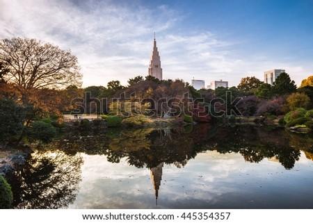 Tokyo park reflection - stock photo