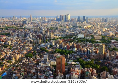 Tokyo skyline - city aerial view with Toshima and Shinjuku wards. Warm sunset light. - stock photo
