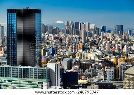 Tokyo skyline with Mount Fuji,  Japan. - stock photo