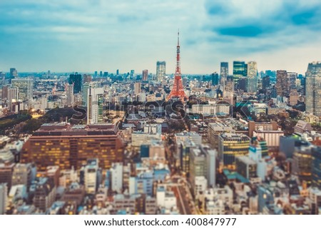 Tokyo Tower photo.Tokyo tower and Tokyo city view in evening.Tokyo tower taking in Tokyo - stock photo