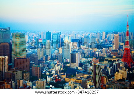 Tokyo urban skyline rooftop sunset view,Japan.Abstract architecture of a modern building.Urban background.Tourism.Asia.Modern architecture pictures. - stock photo