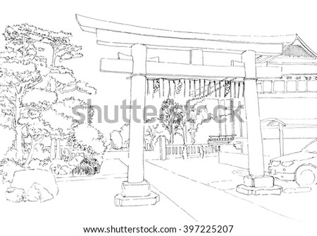 Tokyo view with gate. Black and white dashed style sketch, line art, drawing with pen and ink. Retro vintage picture. - stock photo