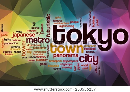 Tokyo word cloud concept with abstract background - stock photo