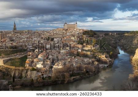 Toledo city and Tagus river view. Castilla La Mancha. Spain. - stock photo