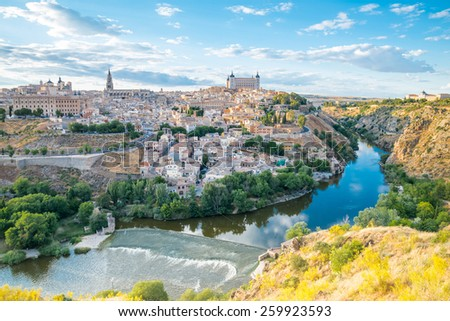 Toledo cityscape. Toledo is capital of province of Toledo (70 km south of Madrid), Spain. It was declared a World Heritage Site by UNESCO in 1986. - stock photo