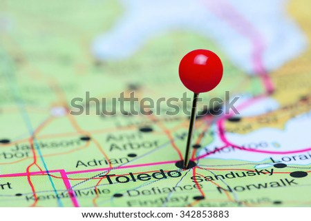 Toledo pinned on a map of USA  - stock photo