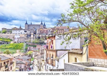 TOLEDO, SPAIN - APRIL 16: Distant view of Alcazar de Toledo on April 16, 2016 in Toledo, Spain. - stock photo
