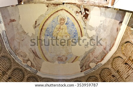TOLEDO, SPAIN - SEPTEMBER 5 2015: Remains of the frescoes decorating the ceiling of the apse of the Mosque of Cristo de la Luz, on September 5, 2015, in Toledo, Spain - stock photo