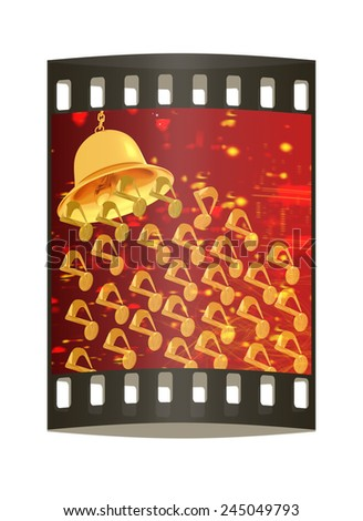 Toll. Gold bell on winter or Christmas style background with a wave of stars. The film strip - stock photo