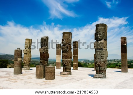 Toltec sculptures - stock photo