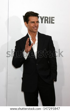 "Tom Cruise  arriving at the LA  Premiere of ""Valkyrie"" at the Director's Guild of America Theater in Los Angeles, CA on December 18, 2008 - stock photo"