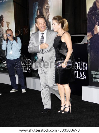 """Tom Hanks and Rita Wilson at the Los Angeles premiere of """"Cloud Atlas"""" held at the ArcLight Cinemas, Los Angeles, CA. 24th October 2012.   - stock photo"""