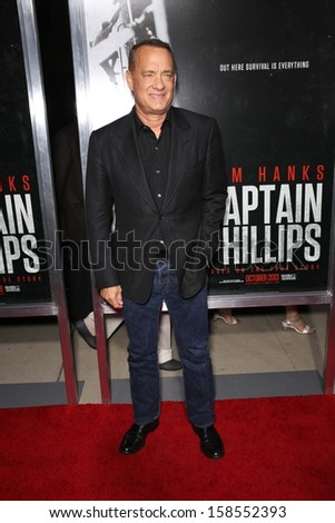 """Tom Hanks at the """"Captain Phillips"""" Premiere, Academy of Motion Picture Arts and Sciences, Beverly Hills, CA 09-30-13 - stock photo"""