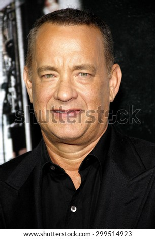 "Tom Hanks at the Los Angeles premiere of ""Captain Phillips"" held at the Academy of Motion Picture Arts and Sciences in Beverly Hills on September 30, 2013 in Los Angeles, California.   - stock photo"