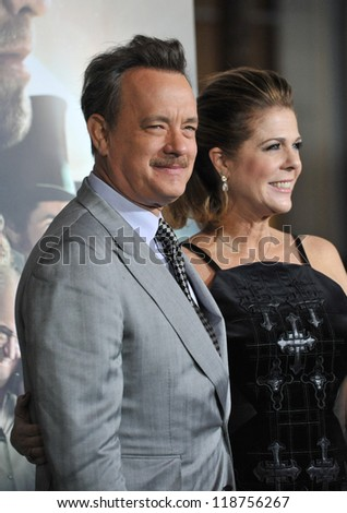 """Tom Hanks & wife Rita Wilson at the Los Angeles premiere of his new movie """"Cloud Atlas"""" at Grauman's Chinese Theatre, Hollywood. October 24, 2012  Los Angeles, CA Picture: Paul Smith - stock photo"""