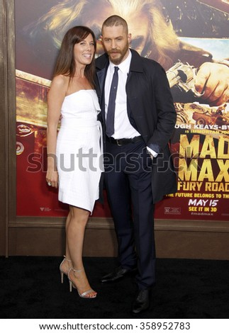 """Tom Hardy and Kelly Marcel at the Los Angeles premiere of """"Mad Max: Fury Road"""" held at the TCL Chinese Theatre IMAX in Los Angeles, USA on May 7, 2015. - stock photo"""