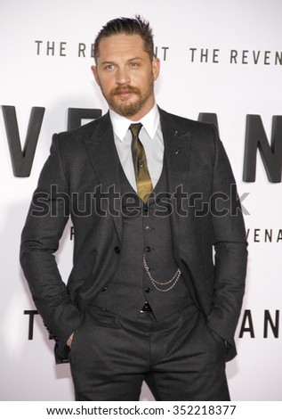 Tom Hardy at the Los Angeles premiere of 'The Revenant' held at the TCL Chinese Theatre in Hollywood, USA on December 16, 2015. - stock photo