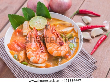Tom Yam Kung and Ingredients, Thai cuisine, Thai food, - stock photo