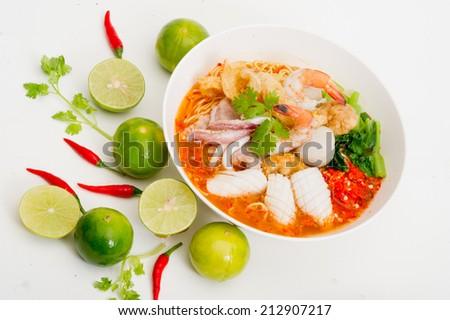 Tom Yam Talay, Seafood Noodle tom yum Soup - stock photo
