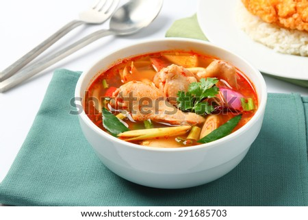 Tom yum Chicken, spicy soup - stock photo