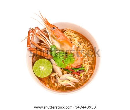 Tom Yum Goong noodles hot and sour soup isolated on white background with clipping path. - stock photo