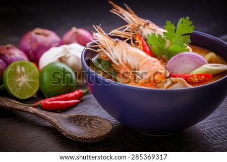 Tom Yum Goong,Thai Food - stock photo