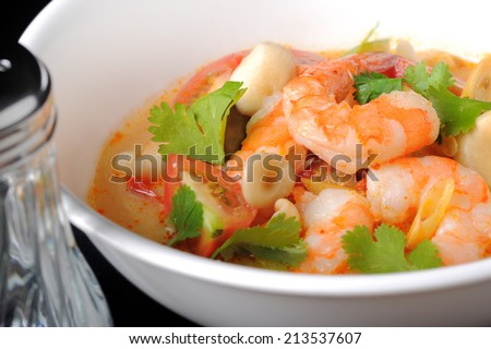 Tom Yum Kung or shrimp soup most popular Thai food, Thailand - stock photo