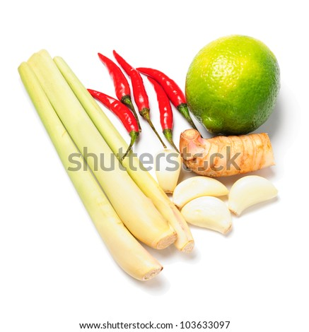 Tom yum soup ingredients - stock photo