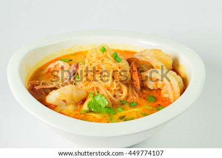 Tom Yum soup, Thai traditional spicy prawn soup with noodle - stock photo