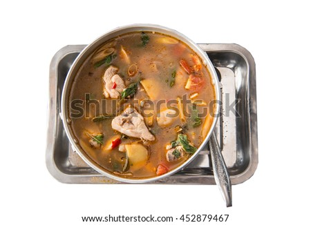 Tom yum, spicy chicken soup Thai Food, Thai popular food menu on a white background. - stock photo