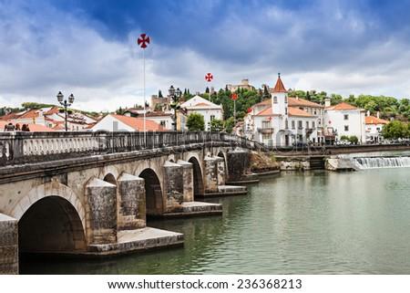 Tomar city center, Santarem District in Portugal - stock photo