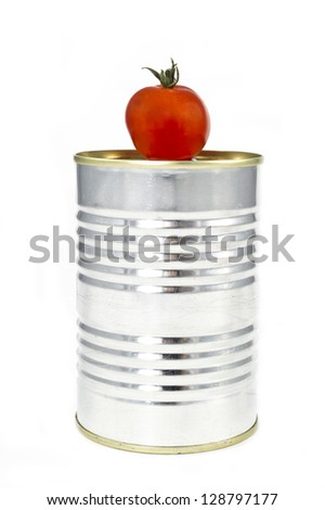 Tomato aluminum tin isolated in white background - stock photo