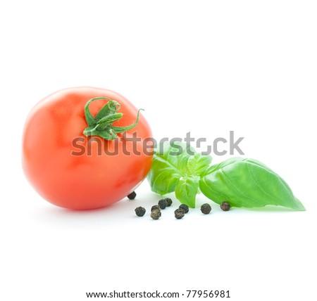 tomato and basil isolated on white - stock photo