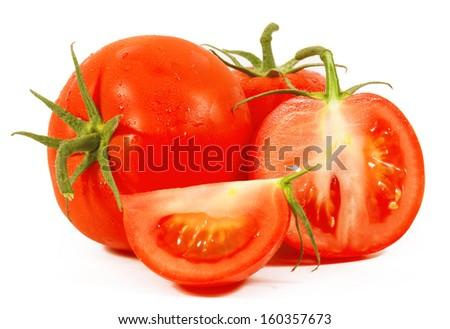 Tomato close-up. isolated on white background - stock photo