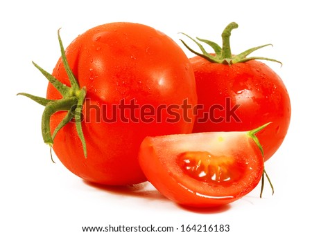Tomato close-up. isolated on white background - stock photo