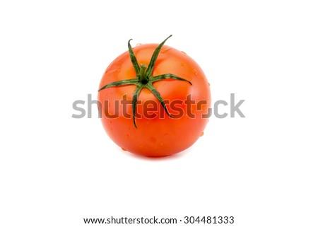 Tomato close-up isolated on white background - stock photo