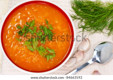 Tomato cream soup - stock photo