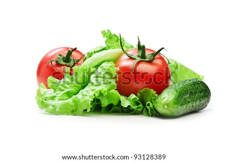 Tomato, cucumber  and lettuce salad isolated on the white background - stock photo