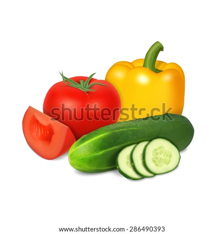 Tomato, cucumber and pepper isolated on white - stock photo