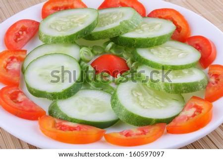tomato,cucumber salad  - stock photo