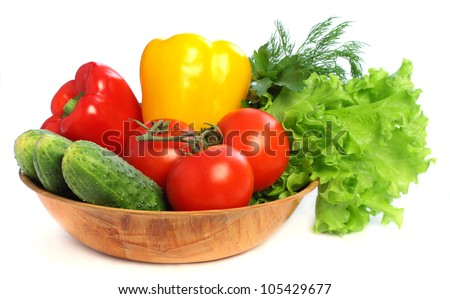 Tomato, cucumber, sweet pepper and green lettuce - organic vegetables on white background - stock photo