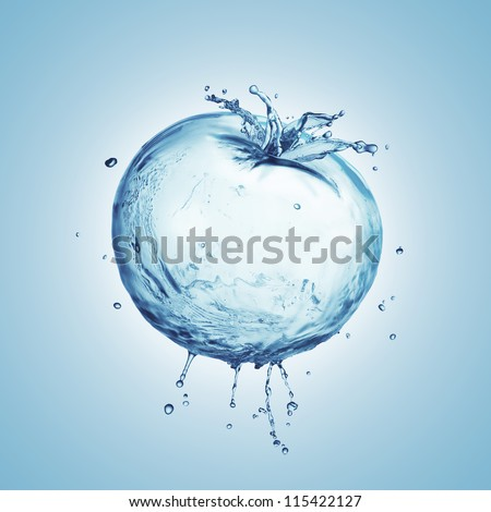 Tomato from the water splashes on a blue background - stock photo