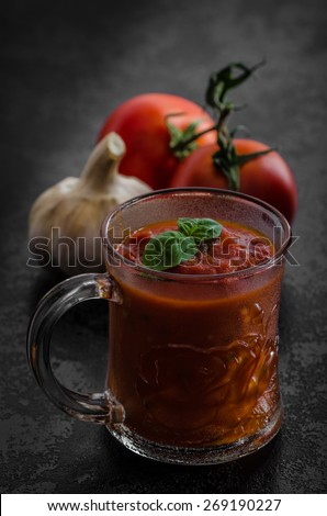 Tomato hot salsa, all organic tomatoes from garden, bio healthy - stock photo