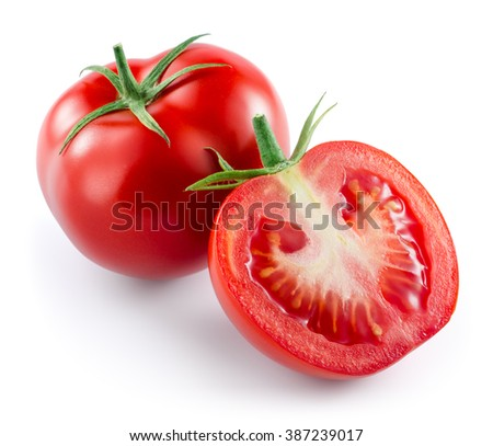 Tomato isolated on white. - stock photo