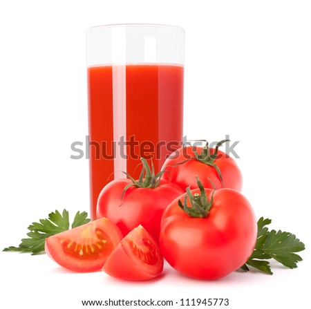 Tomato juice glass isolated on white background - stock photo
